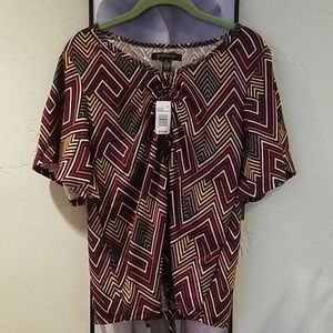Goddess Geo Print Bell Sleeve Top NWT Size Small